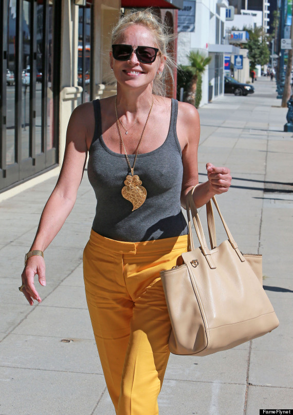 Semi-Exclusive... Braless Sharon Stone Running Errands In Beverly Hills
